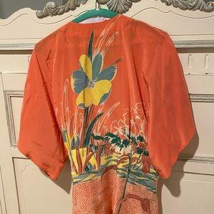 Tibi Silk Floral Kimono Style Wrap Blouse - L